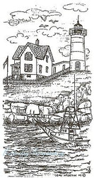 Lighthouse with Boat Scene Wood Mounted Rubber Stamp Northwoods Rubber Stamp New