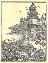LIGHTHOUSE WITH FLOWERS Wood Mounted Rubber Stamp Impression Obsession H1993 NEW