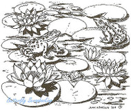 Lily Pads And Frogs In Lake, Wood Mounted Rubber Stamp NORTHWOODS - NEW, M7973