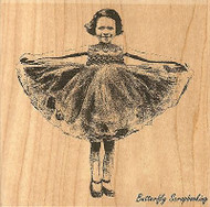 Little Girl Curtsy, Wood Mounted Rubber Stamp IMPRESSION OBSESSION - NEW, H13238