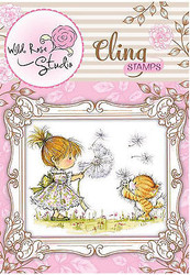 Little Girl Emily & Cat Cling Unmounted Rubber Stamp Wild Rose Studio CS333 New
