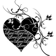 Love Is The Message Valentine, Wood Mounted Rubber Stamp PENNY BLACK- NEW, 4023K