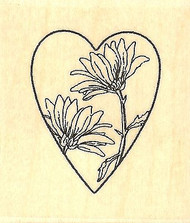Loving Daisy Heart, Wood Mounted Rubber Stamp IMPRESSION OBSESSION - NEW, B9537