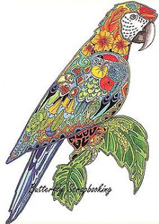 MACAW BIRD Animal Spirit Cling Unmounted Rubber Stamp EARTH ART Sue Coccia New
