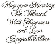 Marriage Congratulations Text, Wood Mounted Rubber Stamp NORTHWOODS - NEW, M057