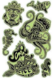 Mermaid Caribbean Sea Unmounted Cling Rubber Stamp Set Inkadinkado 60-60325 New
