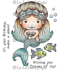 MERMAID MARCI Stamp Set Cling Unmounted Rubber Stamp La La Land Crafts 5262 New