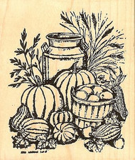 Milk Can And Fall Harvest, Wood Mounted Rubber Stamp NORTHWOODS - NEW, P8183