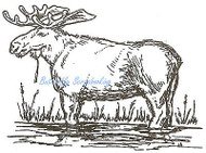 Moose Standing In Pond Wood Mounted Rubber Stamp Northwoods Rubber Stamp New