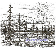 Mountain Sunrise Outdoors Scene Wood Mounted Rubber Stamp NORTHWOODS P1692 New