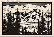 Mountain Vista Linoleum Wood Mounted Rubber Stamp by INKADINKADO 60-00973 NEW