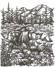 Mountain Waterfall Outdoors Scene Wood Mounted Rubber Stamp NORTHWOODS P1688 New