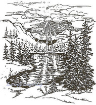 Mountains After The Storm Scene Wood Mounted Rubber Stamp NORTHWOODS P1603 New