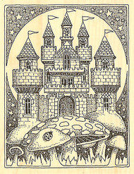 Mushroom CASTLE Wood Mounted Rubber Stamp Impression Obsession NEW