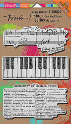 Music Musical Set Jumbo Unmounted Cling Rubber Stamps Set by Stampendous NEW
