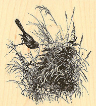 Nature Bird Nest, Wood Mounted Rubber Stamp IMPRESSION OBSESSION - NEW, D8733