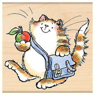 New School Cat, Wood Mounted Rubber Stamp PENNY BLACK - NEW, 4217H