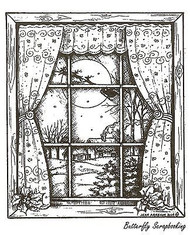 Night Before Christmas Window, Wood Mounted Rubber Stamp NORTHWOODS - NEW, P9670