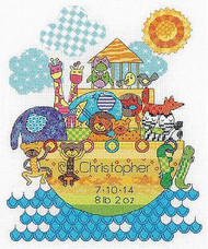 Noah's Ark Baby Birth Record Counted Cross Stitch Kit Dimensions 70-74066 NEW