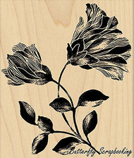 Noble Flower, Wood Mounted Rubber Stamp PENNY BLACK - NEW, 4377K