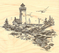 Northern Lighthouse, Wood Mounted Rubber Stamp IMPRESSION OBSESSION - NEW, H1292