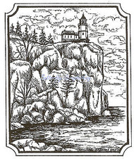 Ocean Lighthouse Scene Wood Mounted Rubber Stamp Northwoods Rubber Stamp New
