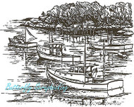 Ocean Lobster Boats Scene Wood Mounted Rubber Stamp Northwoods Rubber Stamp New