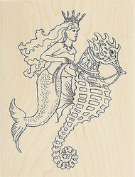Ocean Mermaid Seahorse Ride Wood Mounted Rubber Stamp STAMPENDOUS R226 New