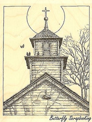 Old Church Steeple, Wood Mounted Rubber Stamp IMPRESSION OBSESSION - NEW, H1836