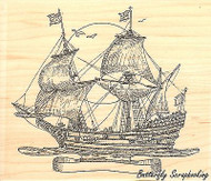 Old Style Ship, Wood Mounted Rubber Stamp IMPRESSION OBSESSION G1956 NEW