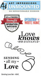 Operation Write Home Love Set Cling Unmounted Rubber Stamps Art Impressions NEW
