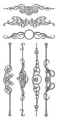 Ornate Flourish Set Clear Unmounted Rubber Stamp Set 7 Stamps INKADINKADO NEW