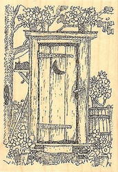 Outhouse, Wood Mounted Rubber Stamp IMPRESSION OBSESSION - NEW, F1980