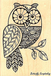 OWL Pen Pattern Owl, Wood Mounted Rubber Stamp STAMPENDOUS, NEW - P230