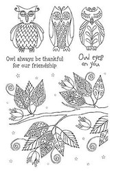 Owls Freindship Branch Clear Unmounted Rubber Stamp Set Impression Obsession NEW