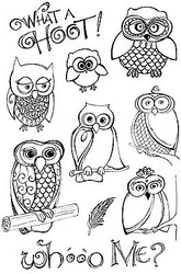 Owls Hoot Clear Unmounted Rubber Stamps Set Impression Obsession Zenspirations