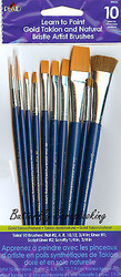PAINT BRUSHES 10 Brush Set Plaid Gold Taklon Natural Bristle Artist Brushes New