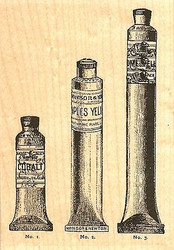 Paint Tubes, Wood Mounted Rubber Stamp IMPRESSION OBSESSION - NEW, F13319