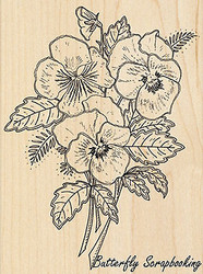 Pansy Bouquet, Wood Mounted Rubber Stamp PENNY BLACK - NEW, 4382K