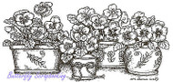 Pansy Flower Pots Wood Mounted Rubber Stamp NORTHWOODS O8492 New