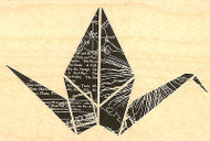 Paper Crane Wood Mounted Rubber Stamp Impression Obsession Stamp E13187 NEW