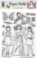 PAPER DOLLS 14 Stamps Clear Unmounted Rubber Stamps Set HOTP-1139 New