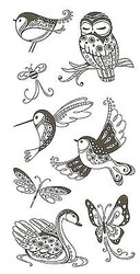 PATTERNED BIRDS & BUGS Clear Unmounted Rubber Stamp Set INKADINKADO 99120 NEW