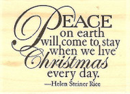 Peace On Earth Text, Wood Mounted Rubber Stamp IMPRESSION OBSESSION C3509 NEW