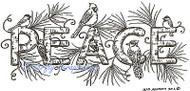 PEACE Winter Birds & Pine Wood Mounted Rubber Stamp NORTHWOODS O8874 New