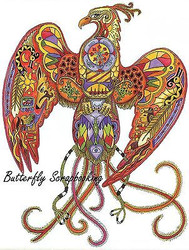 PHOENIX BIRD Animal Spirit Cling Unmounted Rubber Stamp EARTH ART Sue Coccia New