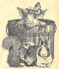 Pig In Pail Butterfly Wood Mounted Rubber Stamp IMPRESSION OBSESSION G1951 New