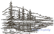 Pine Tree Corner Scene Wood Mounted Rubber Stamp Northwoods Rubber Stamp New