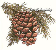 PINECONE PINE BOUGH Cling Unmounted Rubber Stamp C.C. Designs JD1034 New