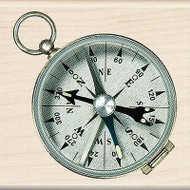 Pocket Compass Wood Mounted Rubber Stamp by Inkadinkado NEW